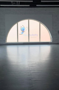 Arched window with Blue Butterfly Studios logo, in Studio 3